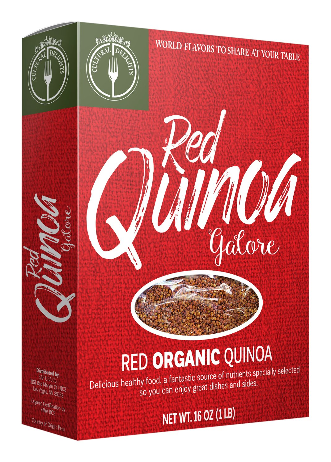 Culture Foods The Finest Organic Red Quinoa Peruvian Whole Grain 24 Piece Value Pack