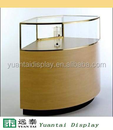Round glass cabinet jewelry wood display table