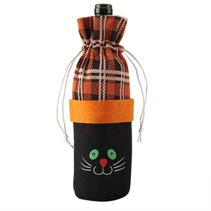 Halloween Party Wine Bottle Cover Wine Cloth Bags with Drawstring Portable