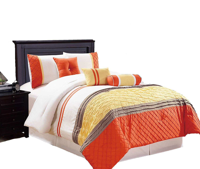 Legacy Decor 7 Pc Striped Comforter set With Diamond Stitch Design