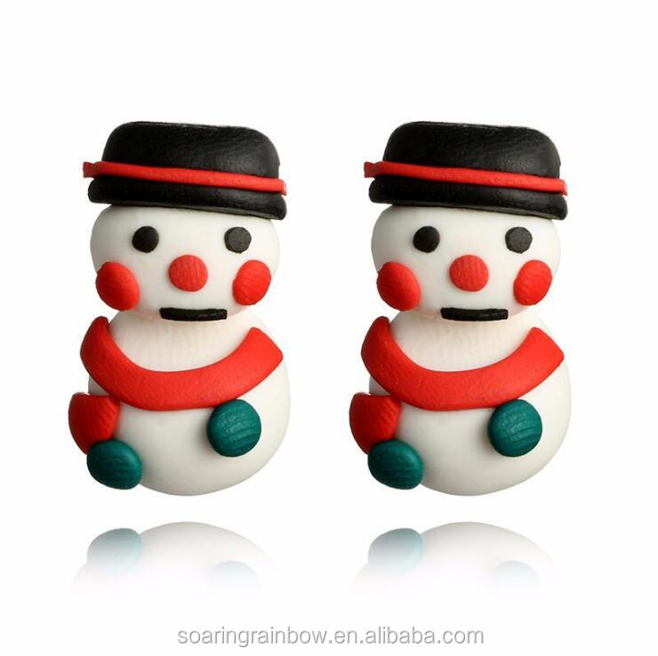 Cute Soft Clay Earrings For Woman Merry Christmas Snowman Clay Stud Earrings 3D Jewelry 2017 Unique