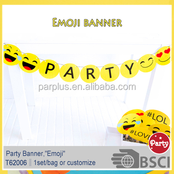 Emoji Party Bunting Happy Birthday Banner