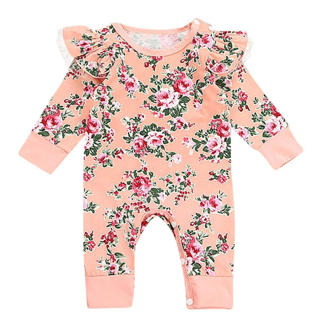 64ab47281d27 Get Quotations · Hatop Newborn Infant Baby Girls Long Sleeves Floral Print Romper  Jumpsuit Bodysuit Outfits Sets Kids Clothes