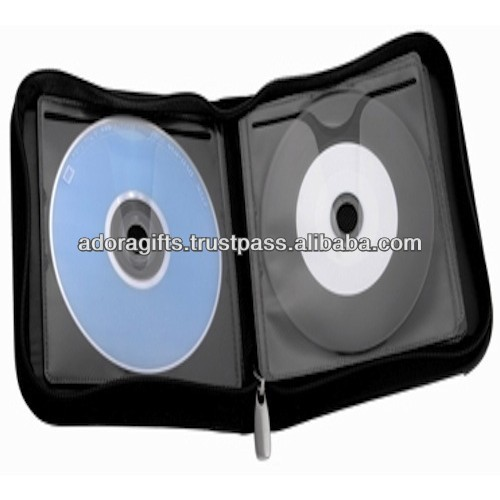 ADACD - 0027 leather car cd dvd bag and case holder / multiple dvd cases / 4 disc dvd case with zip around
