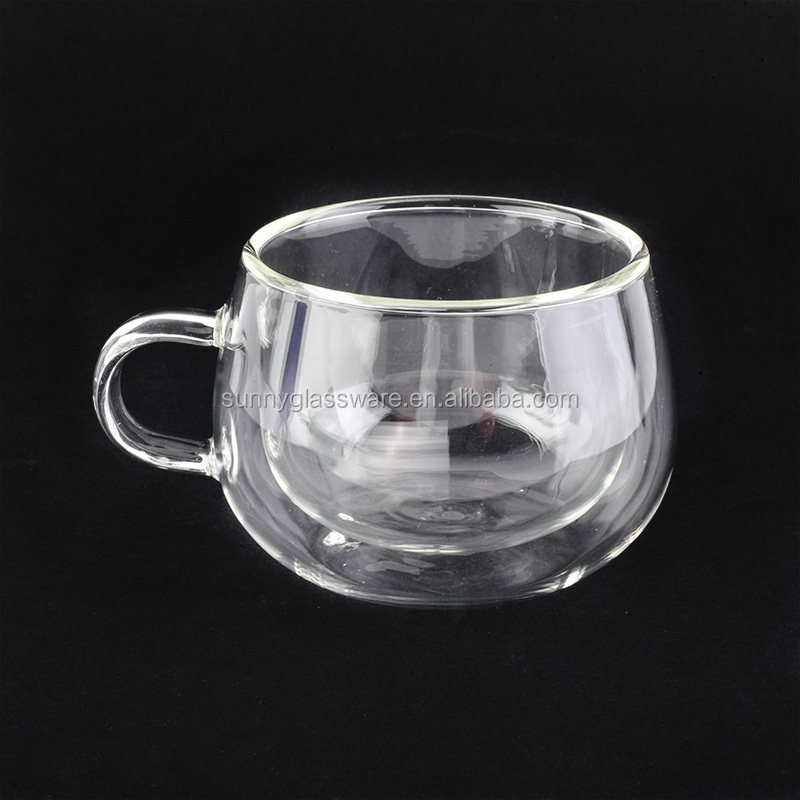 146ml double wall borosilicate glass mug for tea