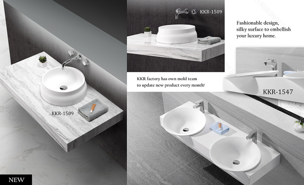 Kkr Acrylic Solid Surface Bathroom Sinks With Two Faucets ...