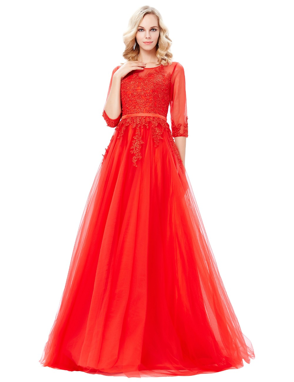 Grace Karin Floor-Length 3/4 Sleeve Long Tulle Netting Lace Red Evening Dress 8 Size US 2~16 GK000122-1