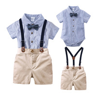 Baby Clothing Sets Newborn Baby Boy Clothes 2PCS Sets Bow Ties Shirts And Suspenders Pants