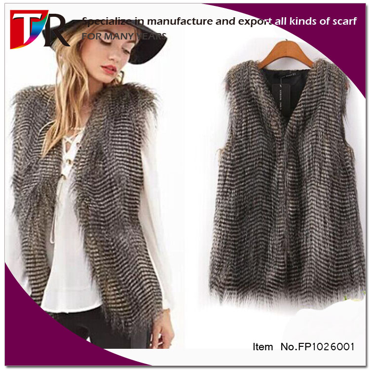 fashion brand new fake peacock fur lady vest cost faux fur vest