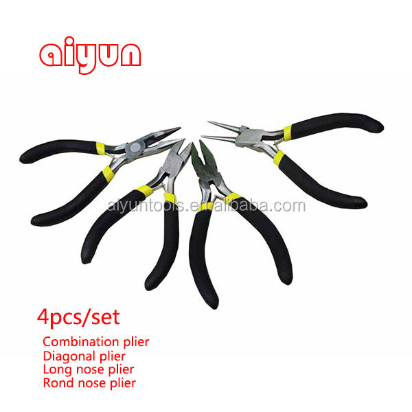 "Hand Tools 4 Inch Auto Pliers Carry Pouch 4-pc. 4"" Needle Long Nose Pliers Set"