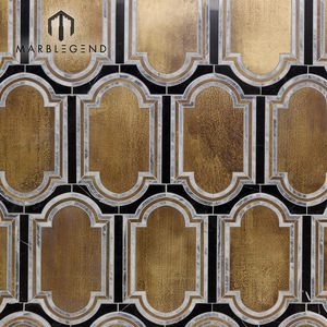 chinese supplier custom water jet cutting marble brass mosaic decor kitchen wall tile