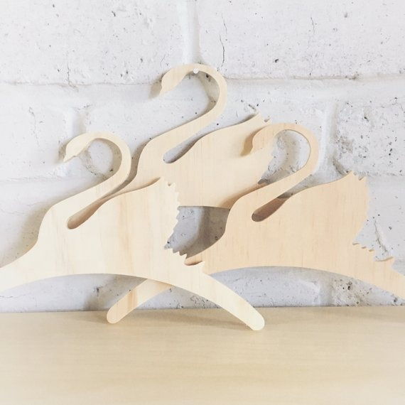 Laser cut natural wooden clothes hanger wood clothes hanger