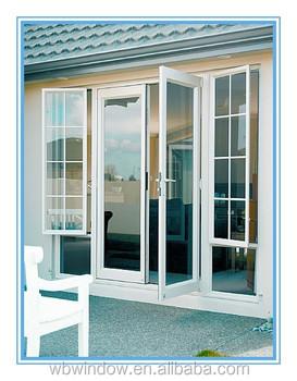 Exterior PVC Door With Opening Window,PVC Door And Window With Grill Design