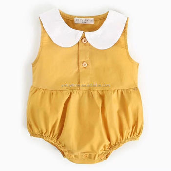 Adorable Baby Cotton Romper Mustard Yellow Toddler Girl Romper Vintage Baby Romper