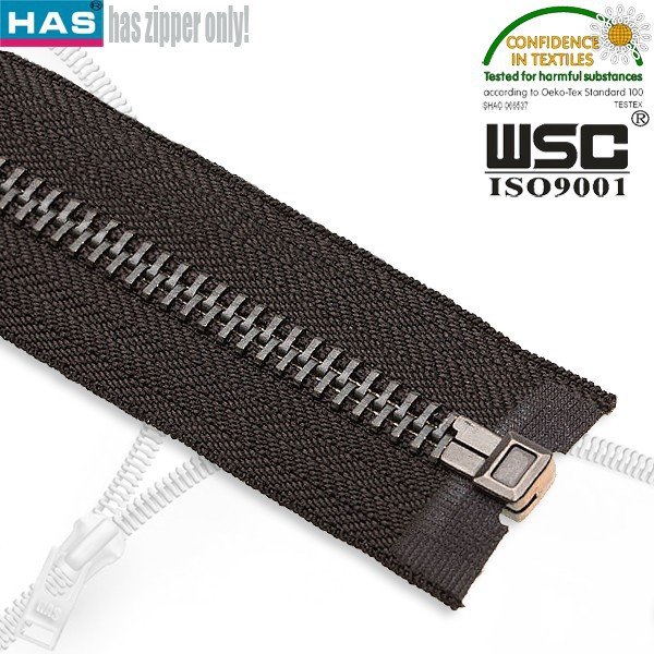 HAS zipper #8 open end any color tape pretty zipper slider good plating fancy metal zipper for canvas bag