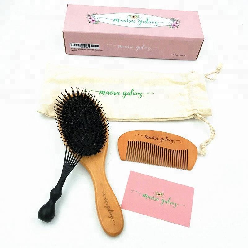 Chất lượng cao Tự Nhiên thân thiện với môi heo rừng lông tóc râu bàn chải và lược thiết lập Mềm Heo Rừng Và Nylon Lông Massage