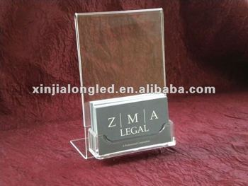 82716 Tabletop 4x6 Acrylic Sign Display With Business Card Holder Literature