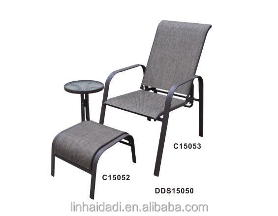 Outdoor Steel Furniture Stacking Sling Chair With Ottoman