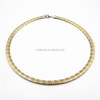 Hot product new 18K Gold plated stainless steel choker collar 6mm width AMEGA chain design men necklace