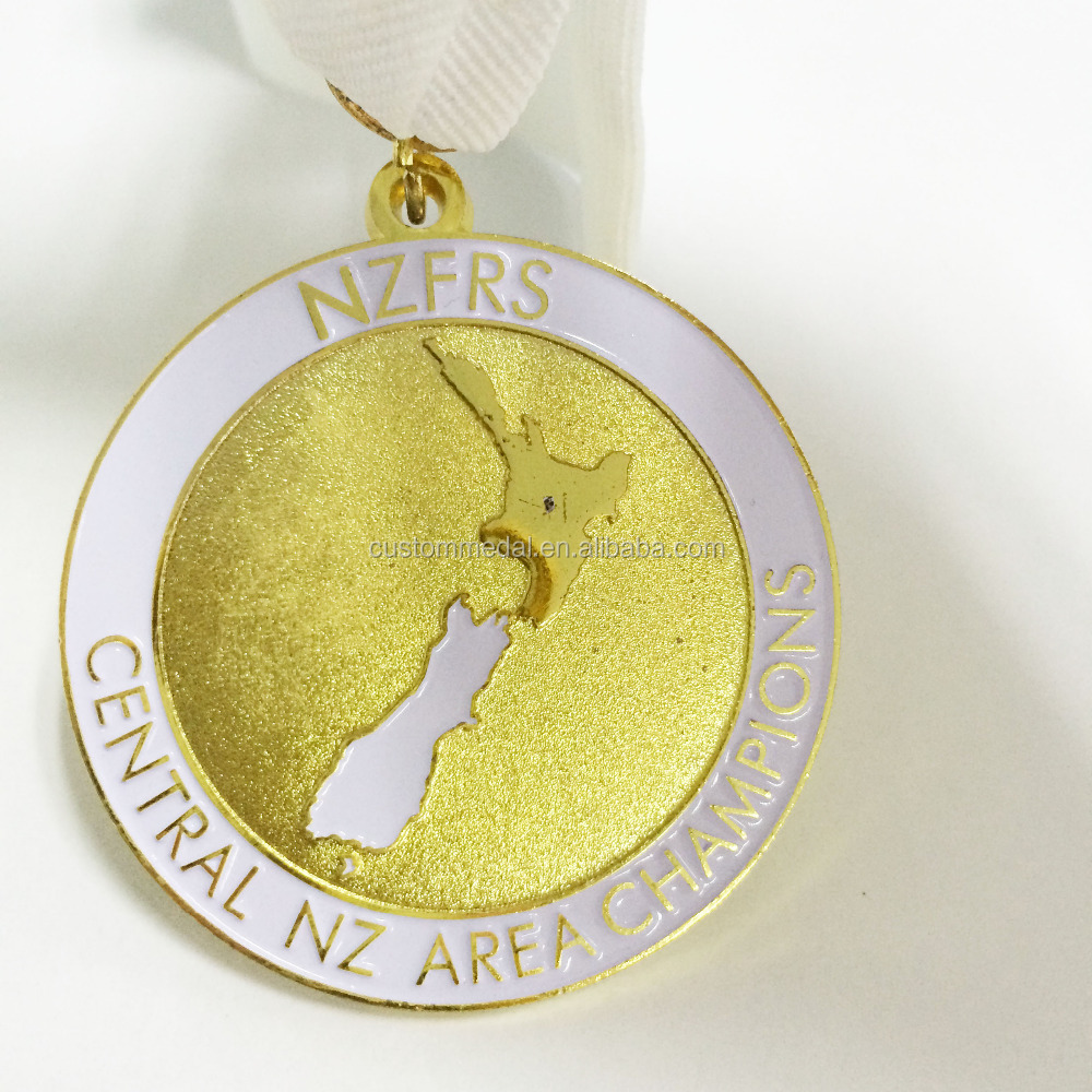 sports medal with custom embossed logo in gold/silver/bronze plating with medal ribbon