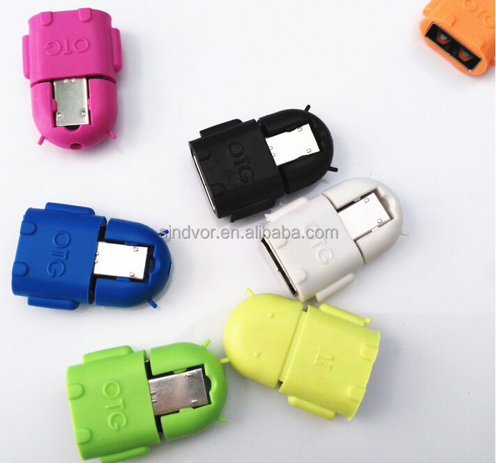 Hot Sale Colorful OTG USB Adapter Hub Host Micro Robot Adapter