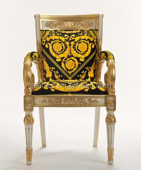 Luxury New Design Baroque Style Living Room Velvet Gilt Armchair Louis Xv Royal Gilded Hand