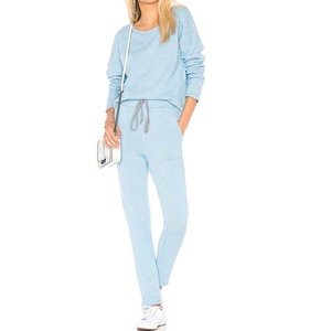 YL OEM 2018 new design plain blue track suit comfortable fabric with side slant pockets for bulk order