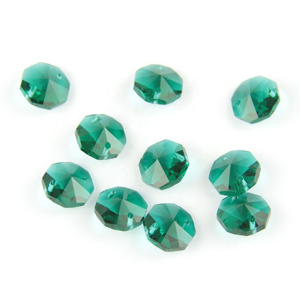 50 Zircon Blue 14mm Octagon Glass Beads Chandelier Crystals