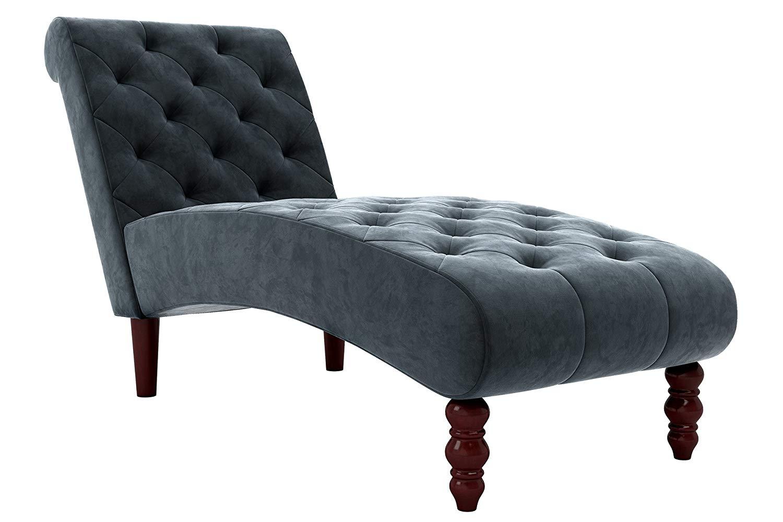 Novogratz Vintage Tufted Chaise - Blue Velvet