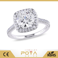 POYA Jewelry 5 Carat CZ Sterling Silver Halo Engagement Ring