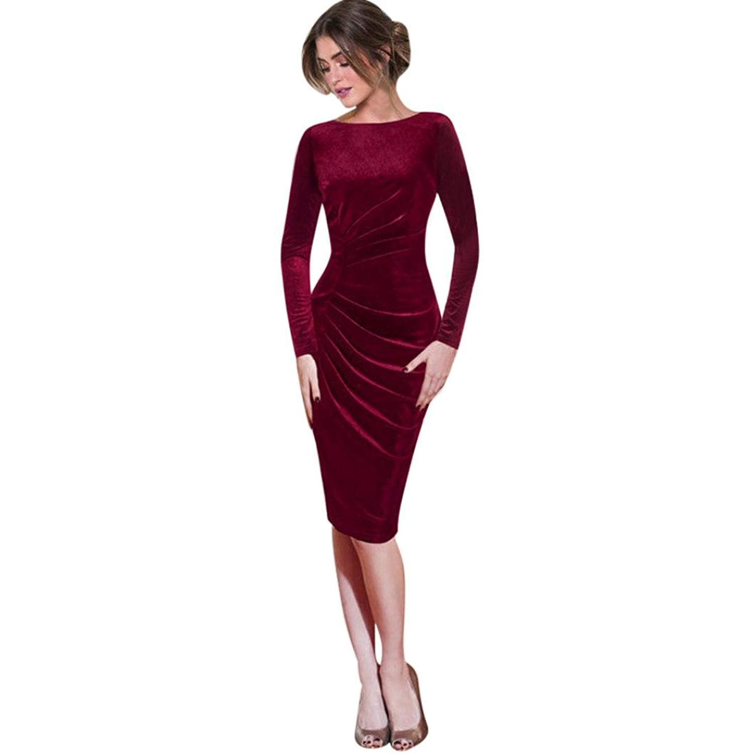 9ea857934a73 Get Quotations · Minisoya Elegant Women Long Sleeve Velvet Dress Ruched  Draped Slim Work Office Cocktail Party Sheath Pencil