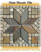 Slate mosaic mesh medallions, slate mosaic wall