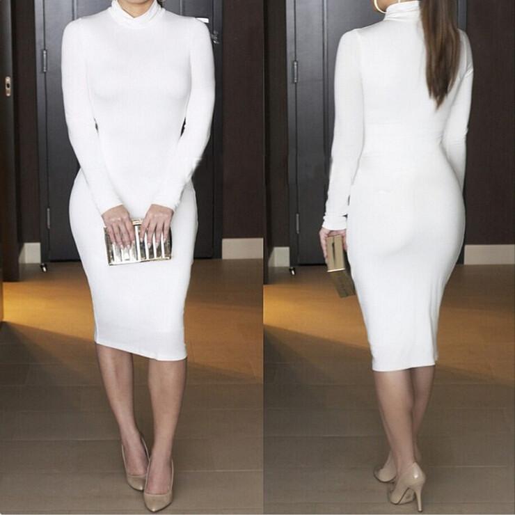 Wholesale Women Turtleneck Long Sleeve Slim Bodycon Wrap Tunic ...