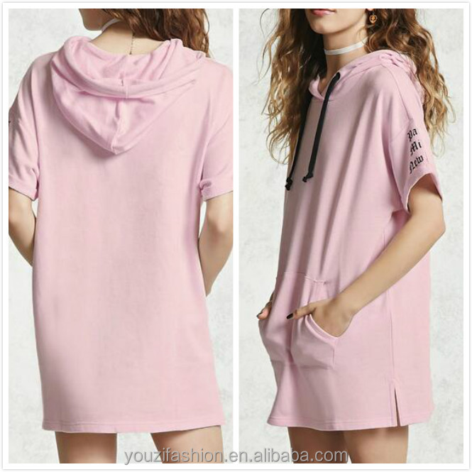 top clothing designers women French terry knit short sleeves Hooded dress