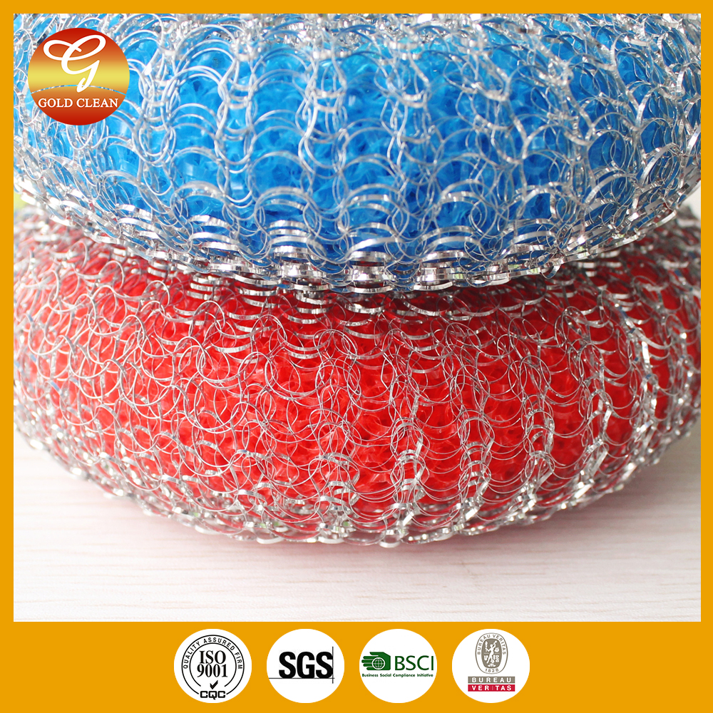 Galvanized mesh scourer with colourful sponge