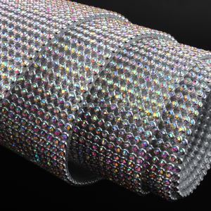 Rhinestone mesh Aluminum Silver base 36Rows/48rows SS8 crystalAB with glue for garment Bags