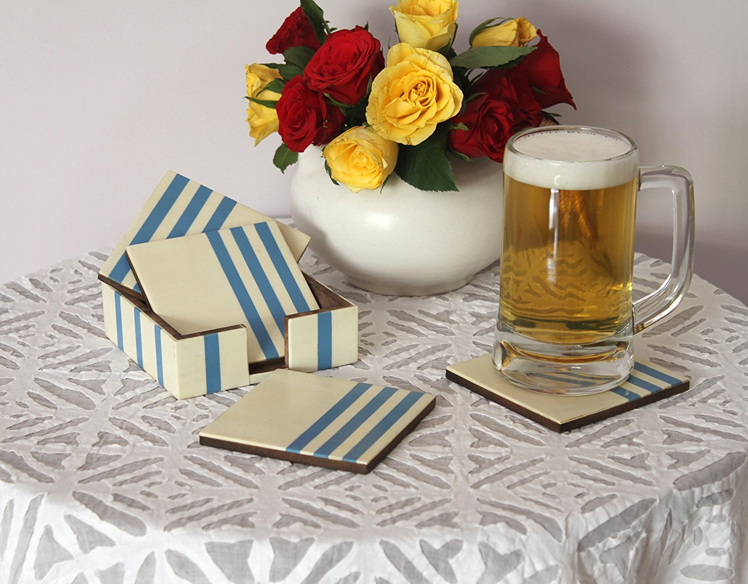 Sale on Drink Coasters - Coasters Set of 4 Drink Beverage Wood Coasters & Holder White & Blue Wooden Square Coaster Dining Table Decorations