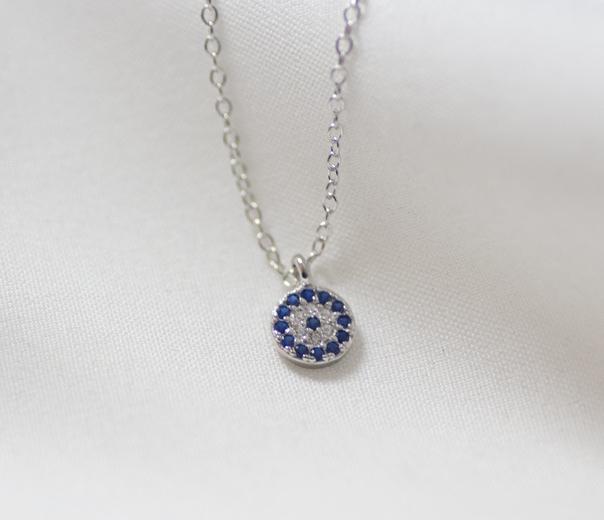 925 sliver 3A cubic zircon turkish style devil  eye necklace women blue  pendant collarbone chain d1f6a17b2