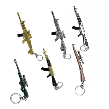 2019 New game Novelty Items Guns Toys Keychain pendant Trinket Sniper Key Chain 6 styles Jewelry Souvenirs Gift Men