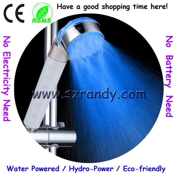 LD8008-A20 three water jets multifunctional water glow color led shower light in blue color