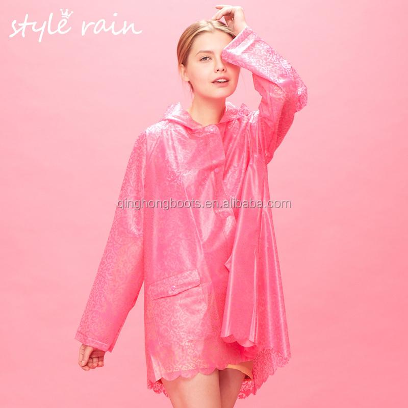 2015 Fashion China Ladies Transparent Pvc Raincoat - Buy
