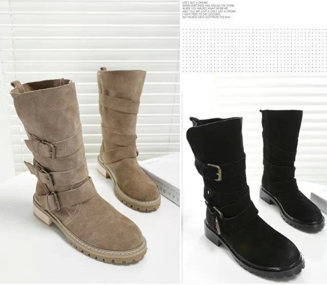 c5f1e434b549 Get Quotations · Free shipping retro British style matte leather boots  women Martin boots motorcycle boots leather flat boots