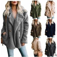 Elegant Faux Fur Coat Women Autumn Winter Warm Soft Zipper Fur Jacket Plush Overcoat