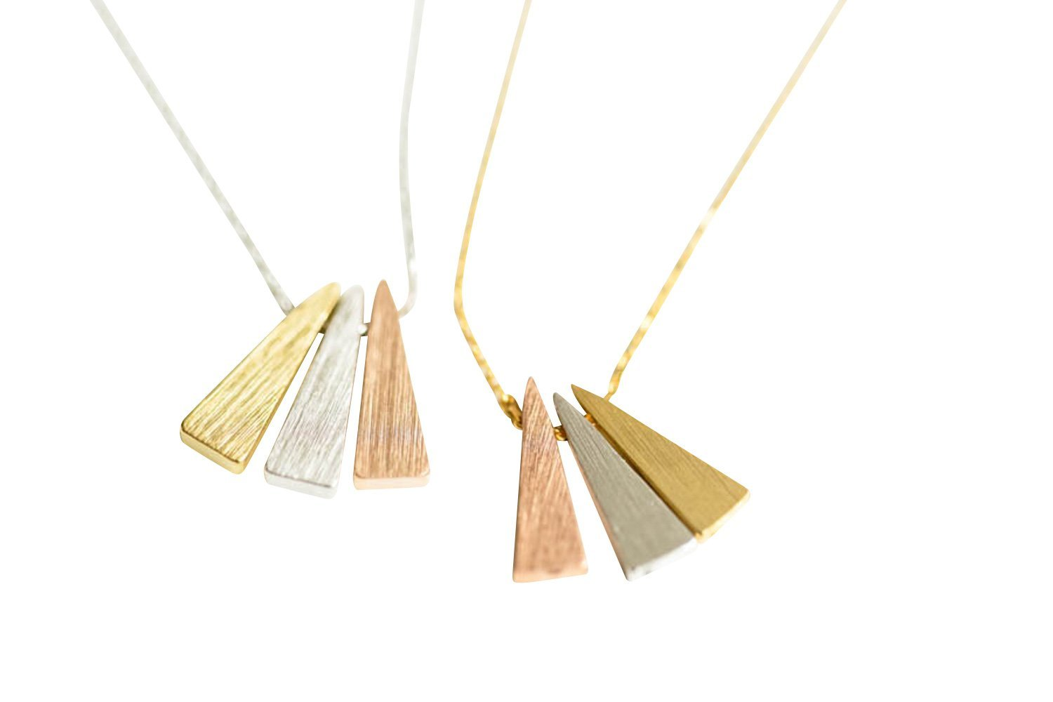 3 Triangle Necklace -GJ , triangle jewelry, triangle necklace, triangle shape jewelry, triangle shape necklace, triangle jewellry, geometric jewelry,
