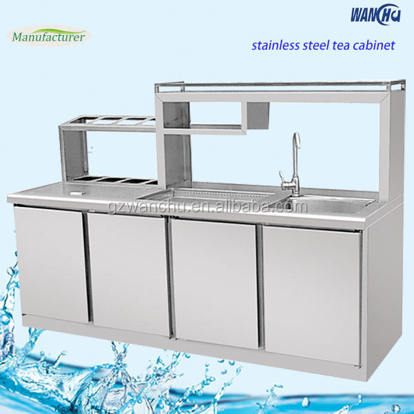 Fruit juice shop stainless steel cocktail station with for Stainless steel kitchen cabinets manufacturers
