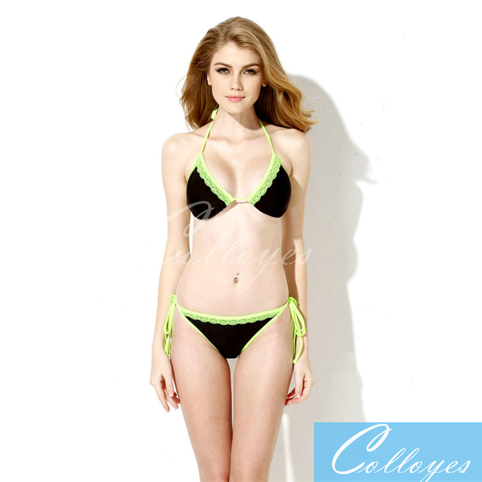 2a13c0d869aba Get Quotations · colloyes bikini neopreno Sexy Black + Double Green Lace  Trim Triangle Top with Classic Cut Bottom