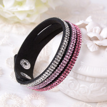 2015 Hot Selling New Fashion Jewelry 3 Layer Leather Bracelet With Crystals ! Charm Bangles For Woman !