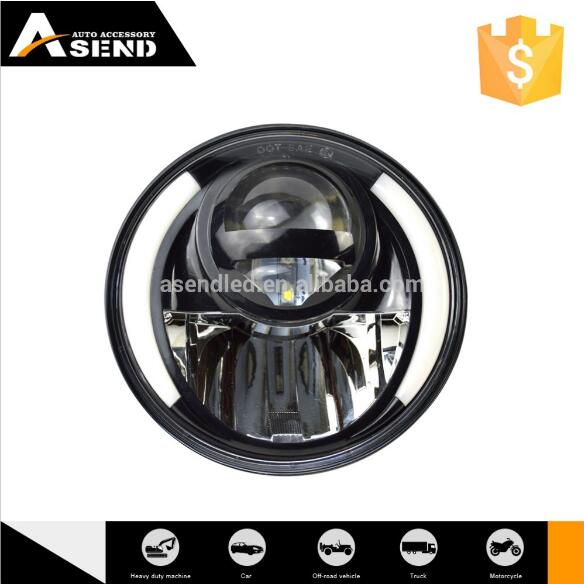 12V7 inch round diving lamp hi/lo beam h4 head lamp with halo/ring auto light