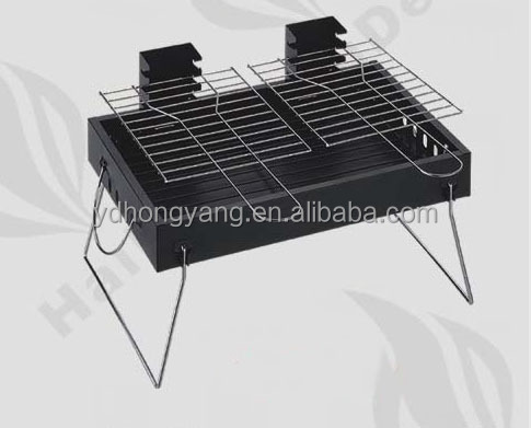 Double wire mesh portable charcoal grate height adjustable bbq grill