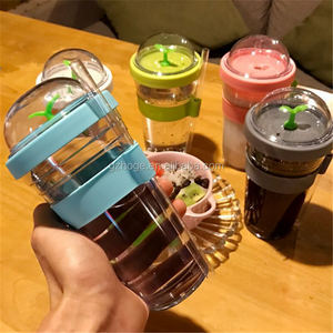 Customized Promotional Gift Double Wall Plastic Summer Cold Drinks Cup Beverage Tumblers With Straw Cap